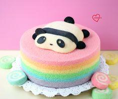 Loving Creations for You: Baby Panda Rainbow Chiffon Cake - Panda Cakes - Macarons Beautiful Cakes, Amazing Cakes, Panda Birthday Cake, Birthday Cakes, Macarons, Bolo Panda, Panda Cupcakes, Fondant, Panda Party