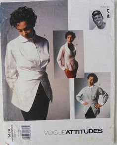 Vogue Attitudes 1420 Byron Lars Shirts 1994 FF Sz8-10-12 VeryLoose-fitting shirt has collar variations,extended shoulders,front bands,yoke with forward shoulder seams,back tucks, stitched hem facings&long sleeves w/pleats, placket&button cuffs.A:fitted through waist, contrast collar, collar band and cuffs, side front seams&shaped hemline.B:collar band.C:contrast collar&cuffs.B,C:wrap,front pleats&tie ends.sld20.5+2.6 15bds 6/30/16