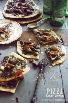 Naan Pizza with Zaatar and Eggplant - #Vegan Recipes by This American Bite