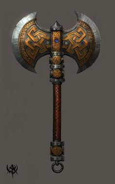 The concept art of the axe is from the Warhammer Online art book. Swords And Daggers, Knives And Swords, Zbrush, Escudo Viking, Viking Axe, Armadura Medieval, Battle Axe, Medieval Weapons, Weapon Concept Art