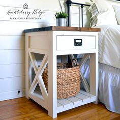Farmhouse nightstand plans that will give your bedroom a Joanna Gaines farmhouse vibe. These free DIY nightstand plans are an easy step-by-step tutorial on how to recreate a farmhouse nightstand for your home. Diy Furniture Plans, Diy Furniture Projects, Farmhouse Furniture, Woodworking Furniture, Home Furniture, Farmhouse Decor, Woodworking Tools, Antique Furniture, Rustic Furniture