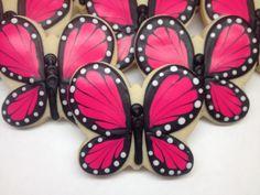 SweetTweets - Pink Butterfly Cookies - 1 Dozen. $36.00, via Etsy.