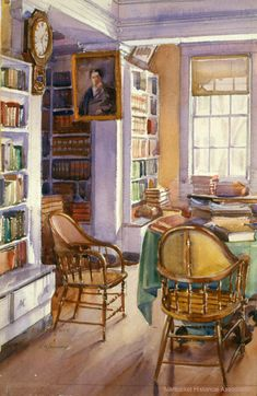 """""""Athenaeum Interior"""": Edgar W. Jenney. In the collection of the Nantucket Historical Association."""