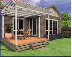 Colour and back deck design Dulux Exterior Colours, Exterior House Colors, Outdoor Rooms, Outdoor Decor, Outdoor Ideas, Outdoor Furniture, Back Deck Designs, Weatherboard Exterior, Deck Shade