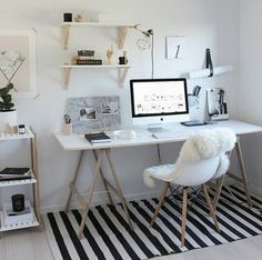 Home Decoration Ideas: Minimal Monochrome Black & White Office Space Inspiration - Simple Workspace Styling (The Design Chaser)