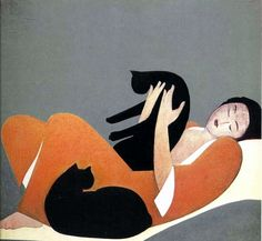 Woman and Cats - Will Barnet, 1962