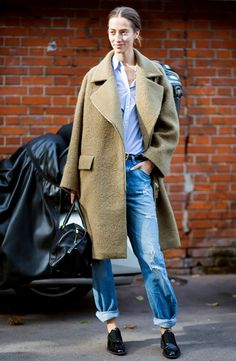 Tip of the Day: Pairing Your Long Coat and Boyfriend Jeans via @WhoWhatWear
