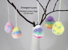 7cm high decorative pompom Easter eggs. Made to order @ https://www.facebook.com/pomporium