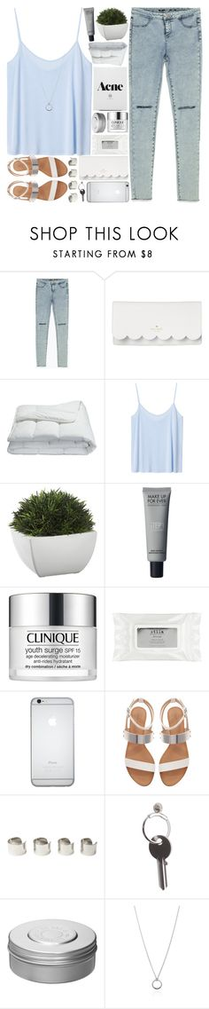 """"""".."""" by imthinkinginyou ❤ liked on Polyvore featuring Zara, Kate Spade, Frette, Monki, Crate and Barrel, Clinique, Stila, Maison Margiela, Hermès and FOSSIL"""