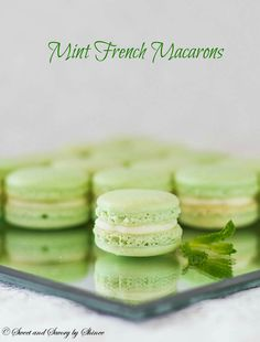 Mint French Macarons