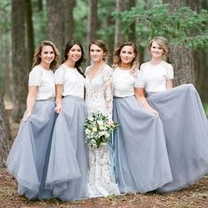 Short Sleeve White Top Light Grey Tulle Skirt Popular Bridesmaid Dresses, PD0300 The dress is fully lined, 4 bones in the bodice, chest pad in the bust, lace up back or zipper back are all available, total 126 colors are available. This dress could be custom made, there are no extra cost to do custom size and color. Description of dress 1, Material:tulle,lace,elastic silk like satin 2.Color: there are 126 colors are available, please contact us for more colors, please ask for fabric swa...