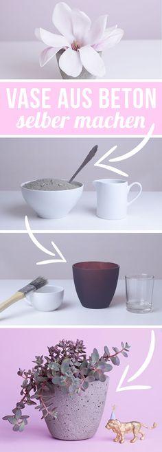 Beton DIY Deko selber machen - Beton gießen und Vasen selber machen - Deko Frühling