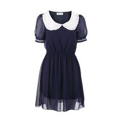 Crochet Lace Collar Blue Shift Dress ($37) ❤ liked on Polyvore featuring dresses, blue peter pan collar dress, peter pan dress, short-sleeve dresses, short sleeve dress and blue dress