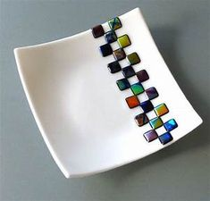 Dichroic Checkerboard Dish by FusedGlassMenagerie on Etsy
