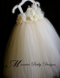 Ivory Vintage Tutu Dress / Ivory Flower Girl by ManaiaBabyDesigns, $84.00