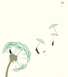 hahaha, umbrellas an dandelion - two of my favorite things in one picture - parasoling dandelion