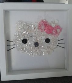 Hello Kitty - Handmade Framed Button art awesome for my lil one Hello Kitty Crafts, Hello Kitty Rooms, Hello Kitty Birthday, Hobbies And Crafts, Crafts To Make, Crafts For Kids, Diy Buttons, Vintage Buttons, Button Art