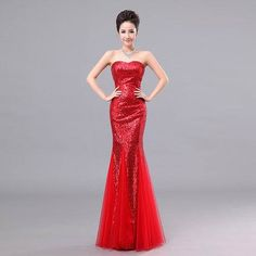 Evening Dresses 2014 Hot Sell Plus Size Sexy Strapless Sequins Pink Fishtail Wedding Party Prom Dress Bride Mermaid Dress Custom-inEvening D...
