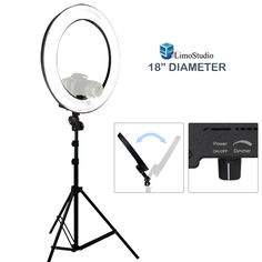 """Amazon.com : LimoStudio 18"""" Ring Light Dimmable Fluorescent Continuous Lighting Kit 5500K Photography Photo Studio Light Stands with Carrying Case, AGG1774 : Camera & Photo"""