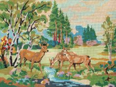 Vintage French needlepoint tapestry canvas embroidery  by TitaTita, $48.20