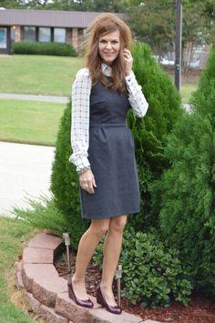 Grey sheath w/chiffon blouse