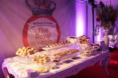 BizBash Idea for British Themed Events: The snacks at the TLC event stayed on theme. Abigail Kirsch's menu included a breakfast spread of scones and other pastries, as well as a selection of sausages, potatoes, and fresh fruit.