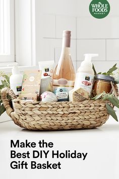 This holiday were loving artisanal chocolate vanilla chai hand cream and rosemary-scented candles among other things. See how you can throw them all together to make the ultimate present with our gift basket guide. Housewarming Gift Baskets, Holiday Gift Baskets, Diy Holiday Gifts, Diy Gifts, Wine Baskets, Food Gift Baskets, Best Gift Baskets, Art And Craft Videos, Host Gifts