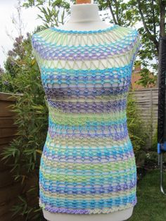 crochet sleeveless lace multicolored top size 10-12 (38-40 )