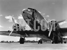 1940s Domestic Passenger Airplane Dual Propeller Landing Gear Photographic Print at Art.com