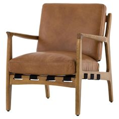 Silas Mid-Century Modern Tan Leather Arm Chairs | Zin Home