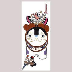【戸田屋梨園染・手ぬぐい】犬張子桃太郎