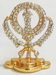 Stone Studded and Gold Plated Khanda - Sikh Symbol (Metal) Baba Deep Singh Ji, Nanak Dev Ji, Eagle Pictures, Guru Gobind Singh, Religious Symbols, Crochet Slippers, Something To Do, Sculpting, Plating