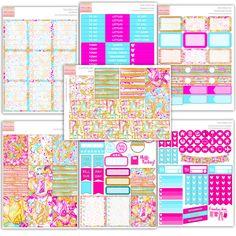 Pink Glitter Girl Sticker Kit für Erin Condren vertikal by PrettyEasyPlanning on…