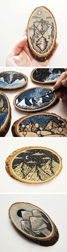 Scenic Illustrations on Wood Slices by Meni Chatzipanagiotou. Could woodburn something like this