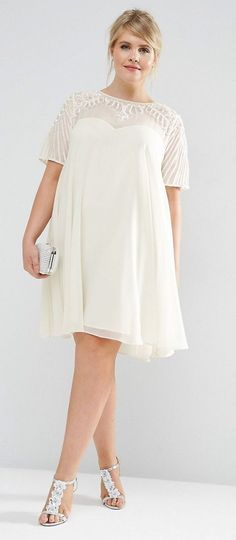 Plus Size Swing Dress with Embellished Yoke