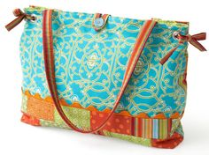 Patchwork Strips and Side-Ties Tote Bag - Free PDF by Sherri K. Falls of  This and That Pattern Company