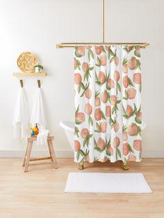 'Watercolor Peaches' Shower Curtain by Peyton Bailey - Modern Peach Bathroom, Cream Bathroom, Tropical Bathroom, Peach Shower Curtain, Colorful Shower Curtain, Bathroom Shower Curtains, Modern Bathroom Design, Bathroom Interior Design, Peach Decor