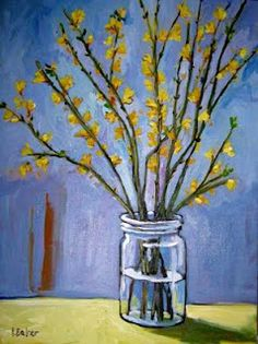 yellow flowers, glass, blue background