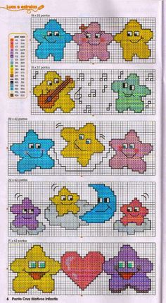 Happy little Stars X-stitch Cross Stitch For Kids, Cross Stitch Boards, Cross Stitch Bookmarks, Cross Stitch Needles, Cross Stitch Baby, Funny Cross Stitch Patterns, Cross Stitch Designs, Cross Stitching, Cross Stitch Embroidery