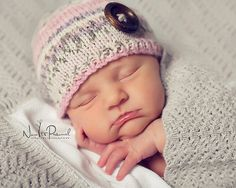 Hand Knitted Baby Hat Fairisle with Walnut by FunkyKnitsUK on Etsy ♡♡
