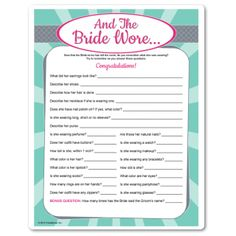 classic bridal shower game has you guessing what the bride is wearing after she leaves the