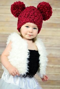 Toddler Animal Hat 1T to 2T Toddler Girl Hat Toddler Boy Hat Toddler Hat Chunky Crochet Pom Pom Hat Mouse Ear Hat 13 Colors Fun Hat Kids Hat by TSBPhotoProps on Etsy