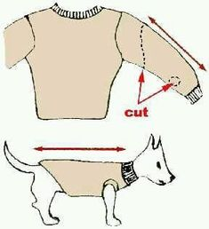 How To Turn Old Sweaters and Sweatpants Into No-Sew Dog Sweaters in Dogs dog coats Dachshund Clothes, Puppy Clothes, Small Dog Sweaters, Pet Sweaters, Dog Sweater Pattern, Old Sweater, Dog Jacket, Dog Coats, Diy Stuffed Animals