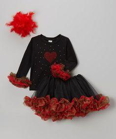 Black & Red Sparkle Heart Tee Set - Infant, Toddler & Girls by Sparkle Baby Sparkle #zulily #zulilyfinds
