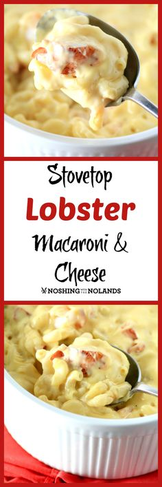 Stovetop Lobster Macaroni and Cheese by Noshing With The Nolands, uses up leftover lobster in a quick and easy mac and cheese in under 15 min.