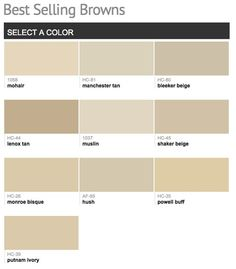 Best selling & popular shades of brown & taupe paint colors from Benjamin Moore. Mohair or Shaker Beige. Benjamin Moore Beige, Benjamin Moore Paint, Benjamin Moore Muslin, Taupe Paint Colors, Interior Paint Colors, Paint Colors For Home, House Colors, Interior Plants, Stucco Colors
