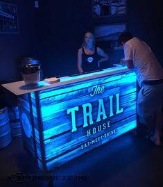 LED Lighted Portable Bar on Wheels for Events & Mobile Bartending - Diy Home Bar, Bars For Home, Bar On Wheels, Bar Deco, Barra Bar, Ultimate Man Cave, Portable Bar, Home Bar Designs, Backyard Bar