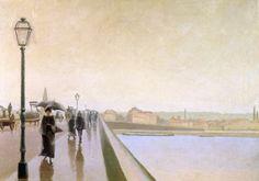 """Charles Lacoste """"Personnages sous la pluie, sur un pont à Bordeaux"""" 1893"""
