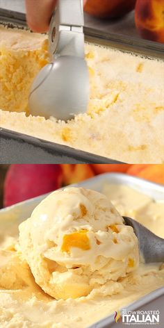 Peaches & Cream Ice Cream No-Churn Peaches & Cream Ice Cream is rich, thick and amazingly delicious. And it does NOT use sweetened condensed milk. This glorious ice cream is speckled with fresh peaches and it's so good you may never get store Ice Cream Desserts, Ice Cream Recipes, Frozen Desserts, Frozen Treats, Just Desserts, Delicious Desserts, Peach Sorbet Recipes, Food Truck Desserts, Peach Cake Recipes