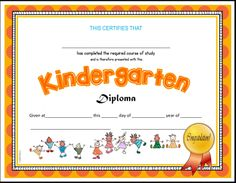 Kindergarten diploma kindergarten kindergarten graduation and kindergarten diploma 4 versions yadclub Image collections